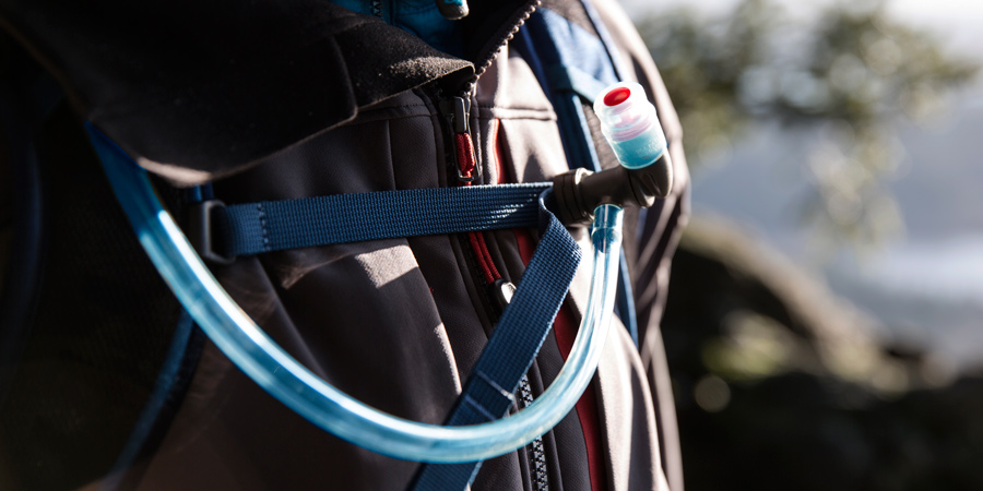 detail of the hose and mouthpiece on a hydration pack