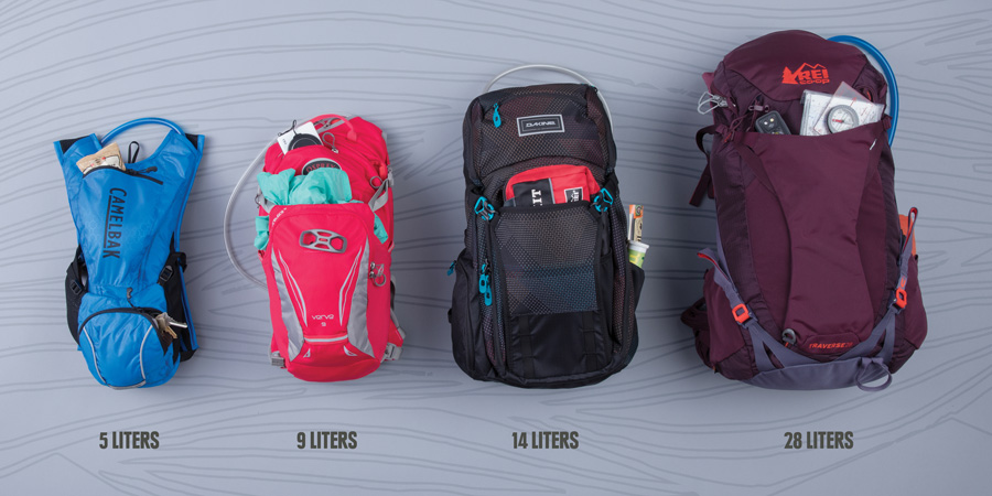 an assortment of hydration packs with various gear capacity ratings