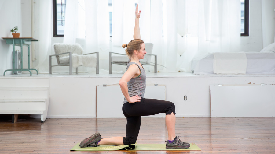 demonstration of the runner's lunge stretch