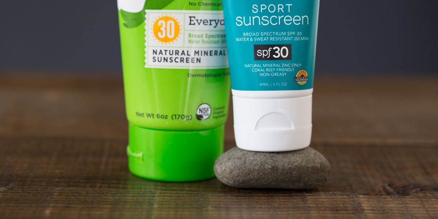 detail of sunscreen ratings on two products
