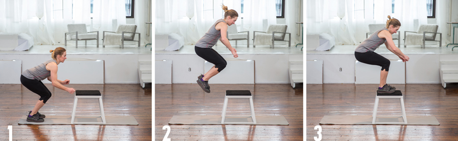 exerciser demonstrating the box jump plyometric exercise