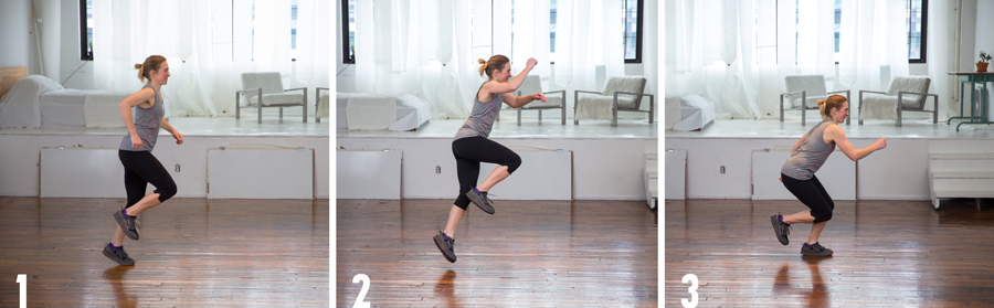 exerciser demonstrating the single-leg hop plyometric exercise
