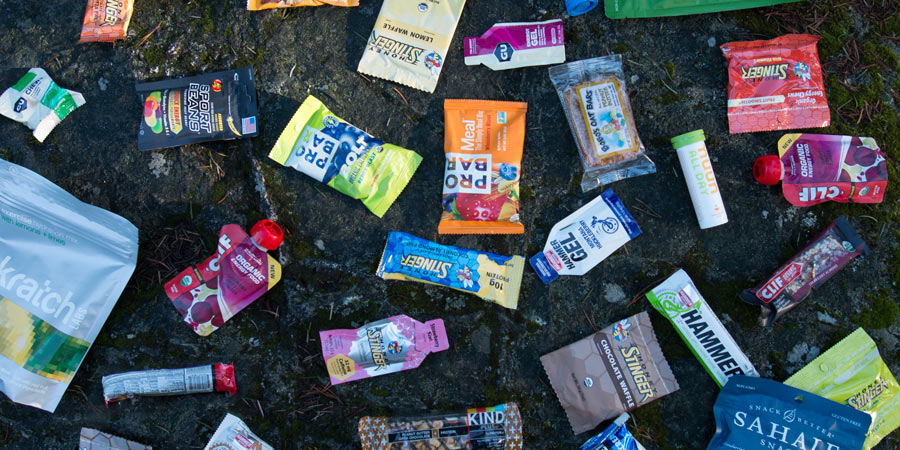 scattered collection of energy foods