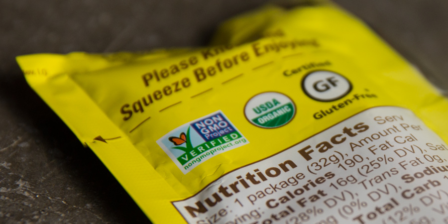 detail of energy food features, including organic, non-gmo, and gluten free