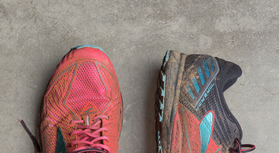 detail of dirty running shoes