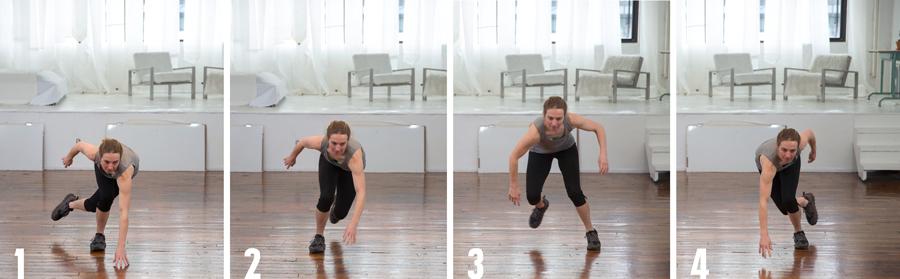 demonstration of skater jumps for cross training
