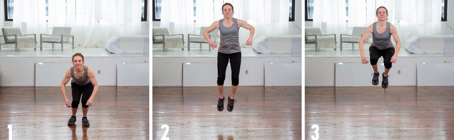 exerciser demonstrating a tuck jump plyometric exercise