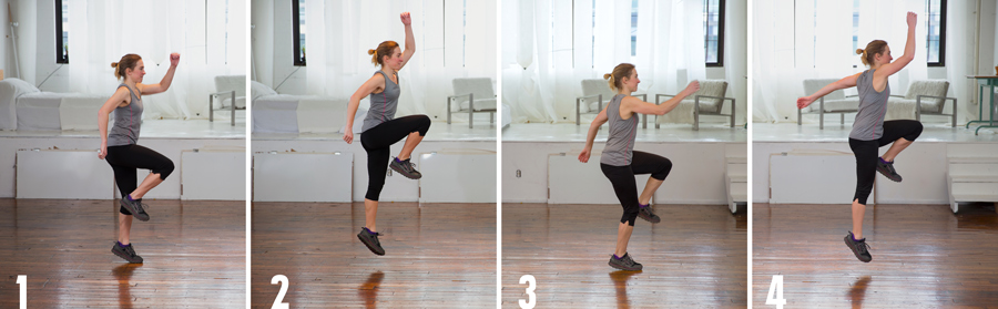 demonstration of athletic skipping for cross training