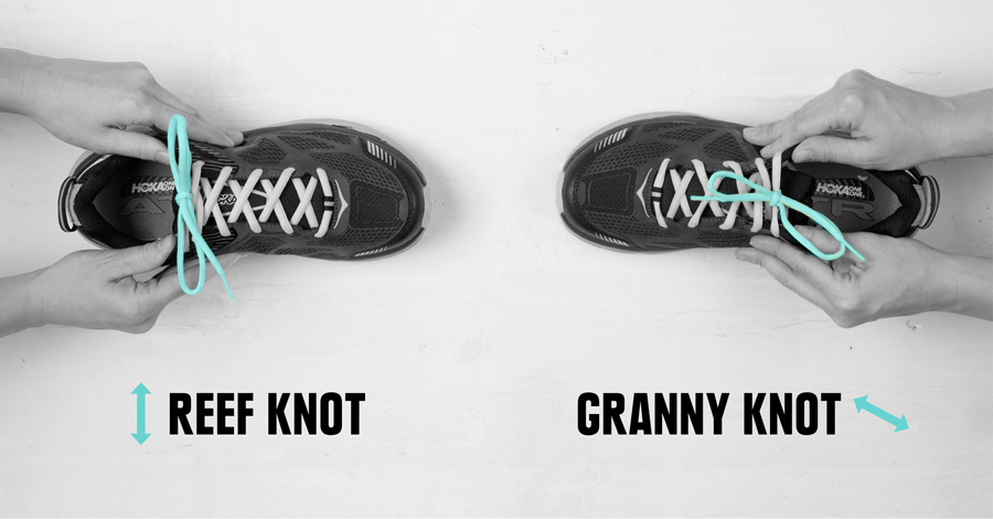 example of how to test if you've tied a granny knot or a reef knot