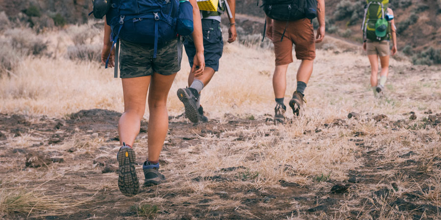 group of backpackers on the trail
