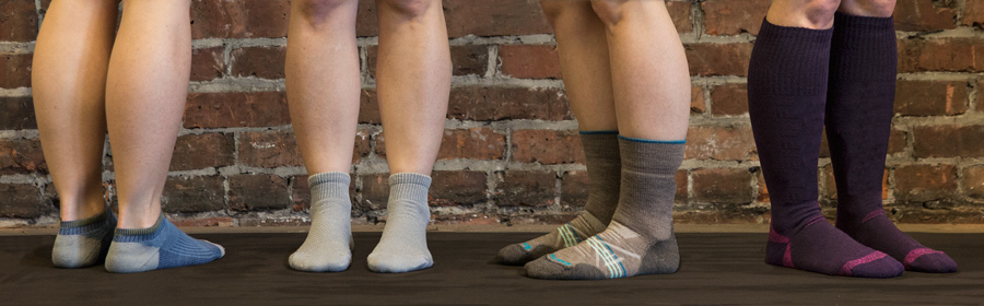 examples of hiking socks of various heights