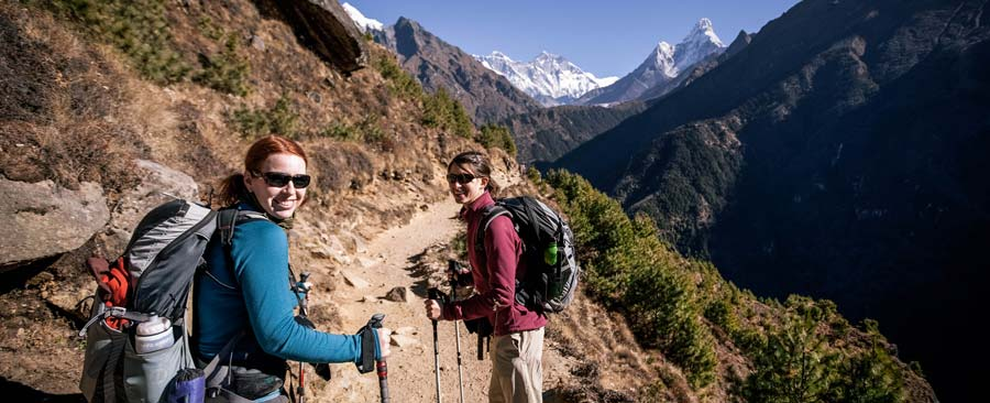 women backpackers on the trail