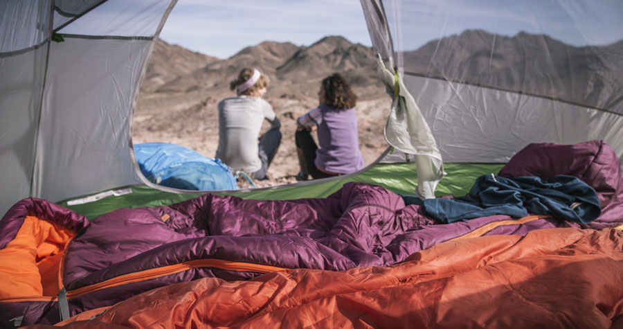 two women at a backcountry camp