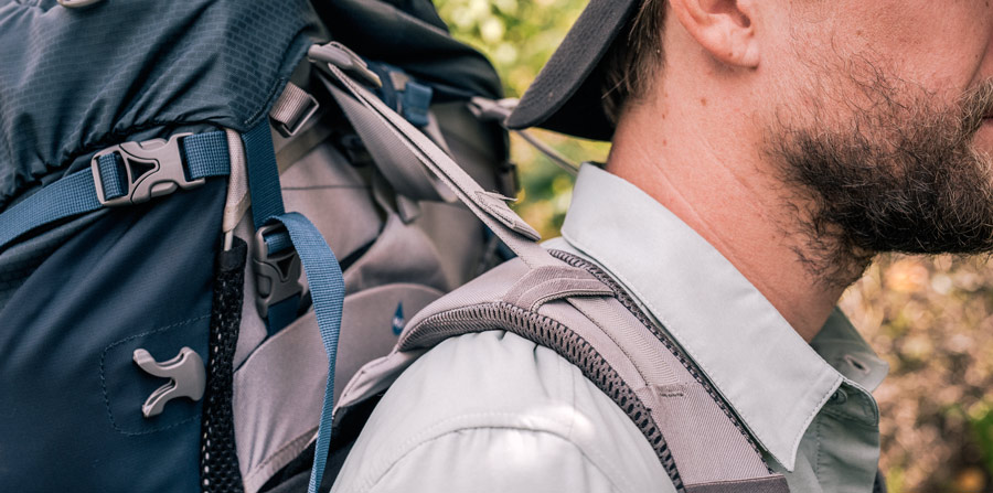 detail of the load lifter straps on a backpack