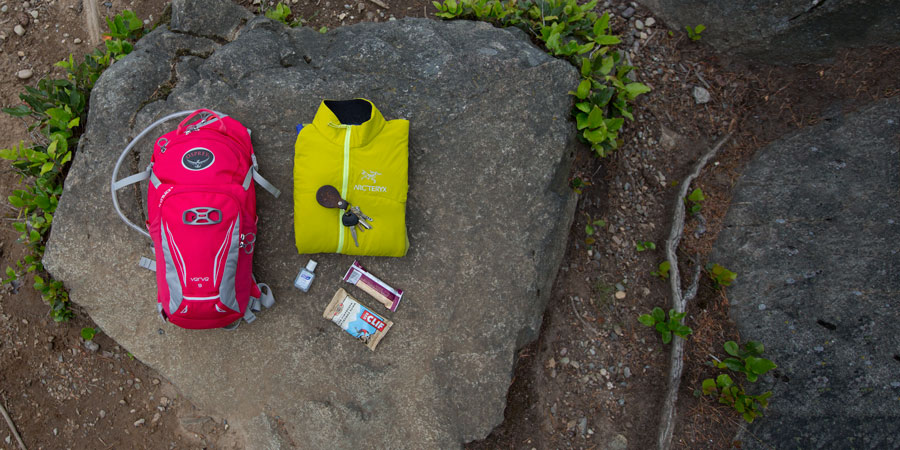 a spread of gear that would fit in a daypack with capacity of 10 liters or less