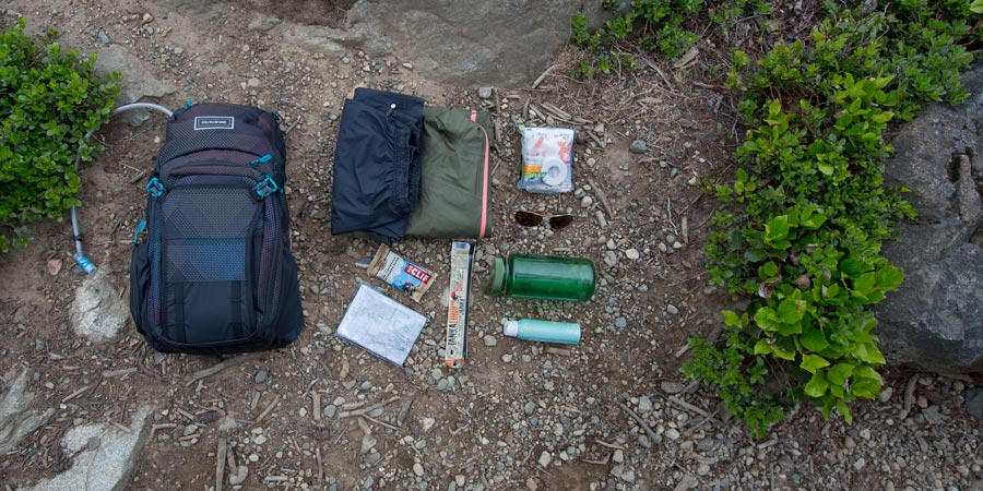 an assortment of gear that you could pack into a daypack with capacity between 11-20 liters